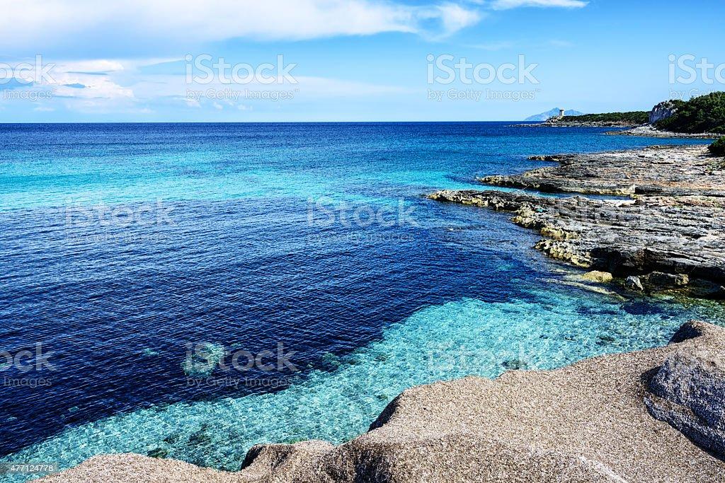 Blue sea and picturesque seashore, Pianosa Island,  Italy stock photo