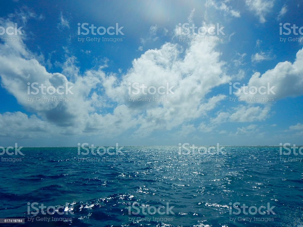 Blue sea and sky in Palau stock photo