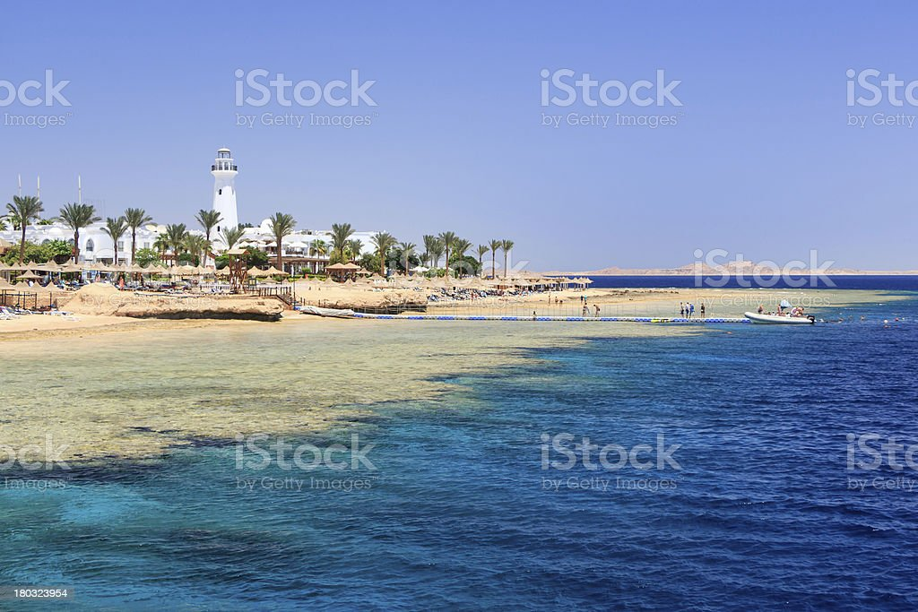 Blue sea at Sharm El Sheikh in Egypt stock photo