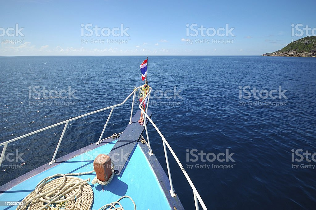 Blue sea boat sailing royalty-free stock photo