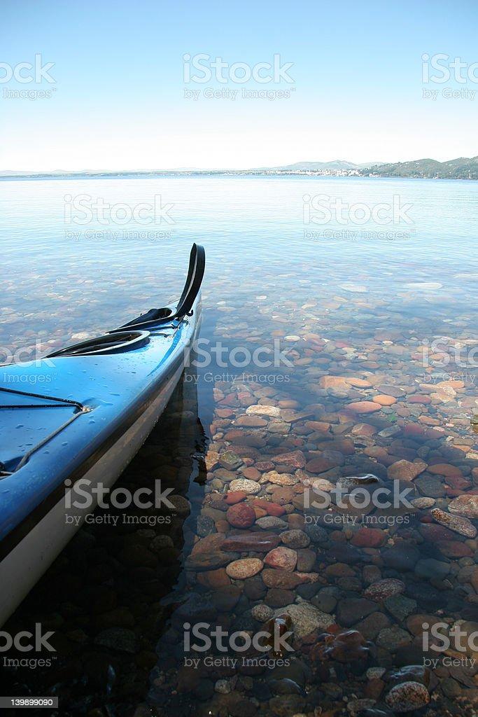 Blue Sea Kayak in Bariloche Lake royalty-free stock photo