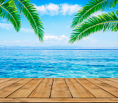 Blue sea, palm tree leaf and wooden terrace