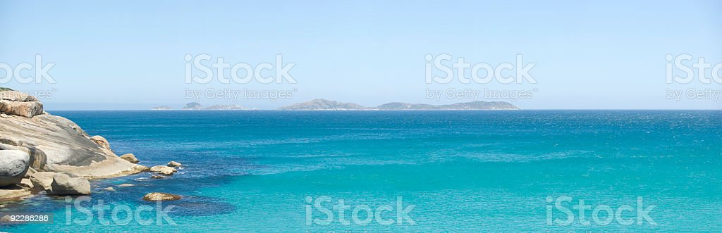 Blue Sea Panorama, Squeaky Beach, Wilson's Promontory, Victoria, Australia stock photo