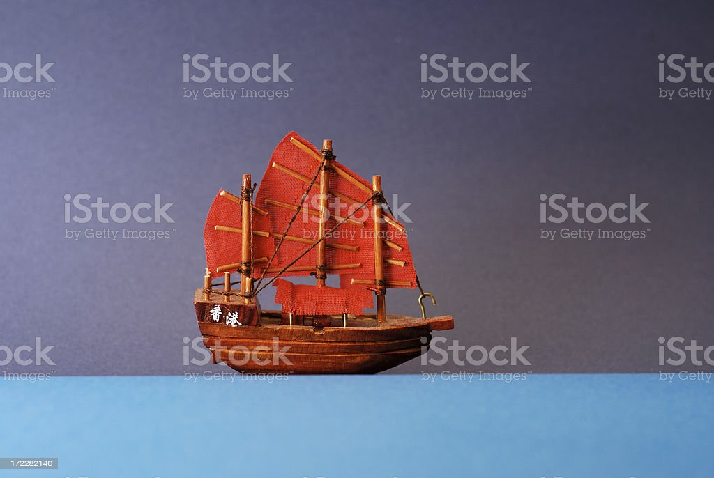 blue sea red vessel royalty-free stock photo
