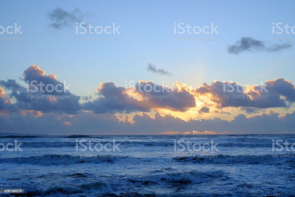 Blue sea scape stock photo