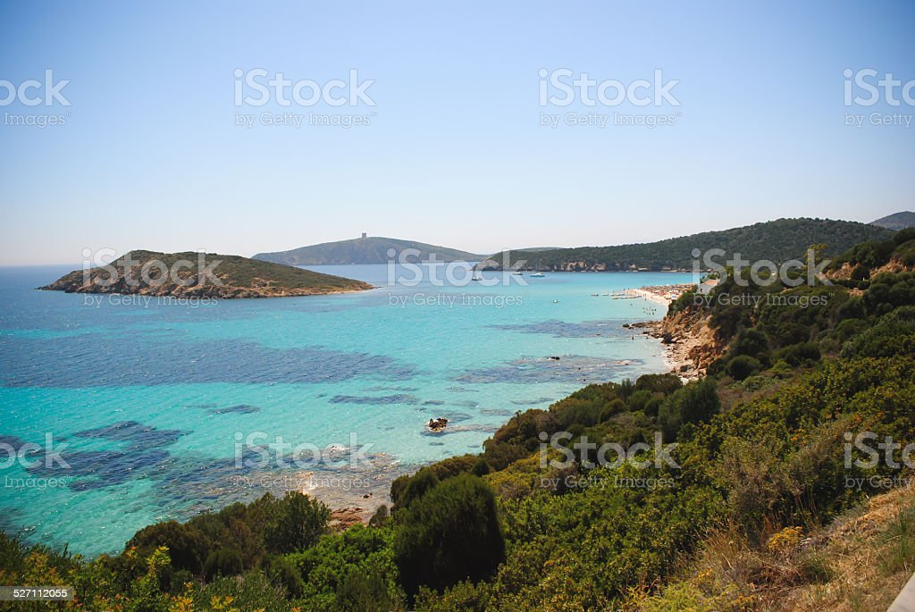 Blue sea with beach stock photo