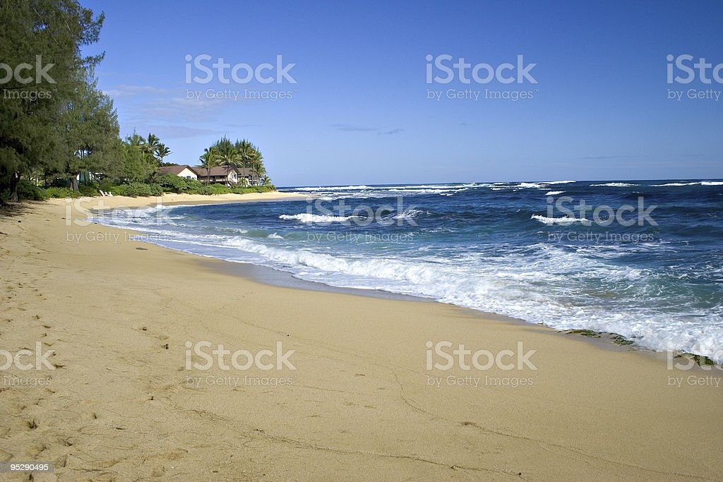 Blue Seas and Sky, Sandy Beach - Kauai, Hawaii stock photo