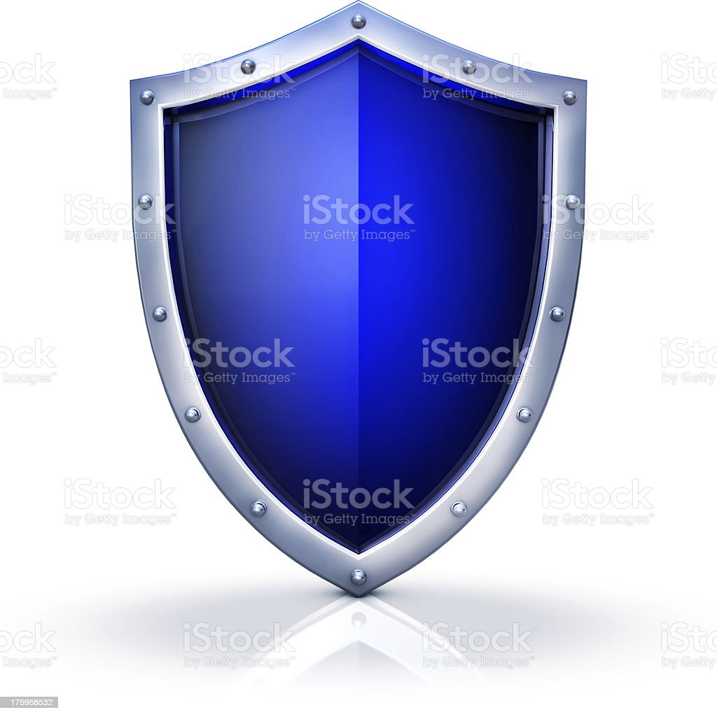 A blue security badge with a silver frame stock photo