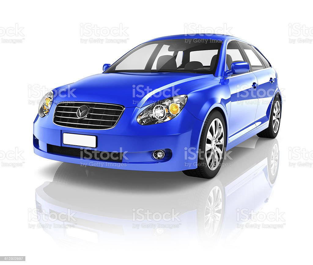 3D Blue Sedan Car stock photo