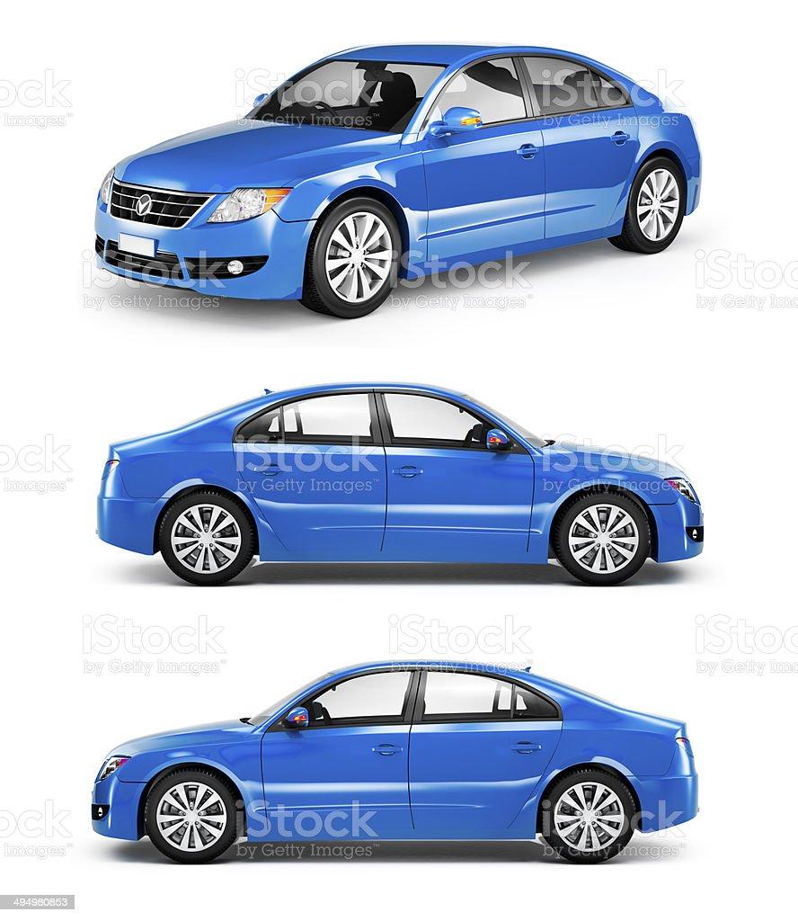 3D Blue Sedans in a Row stock photo