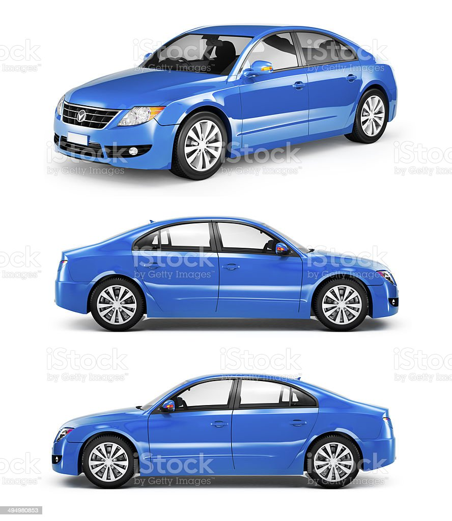 3D Blue Sedans in a Row stock photo