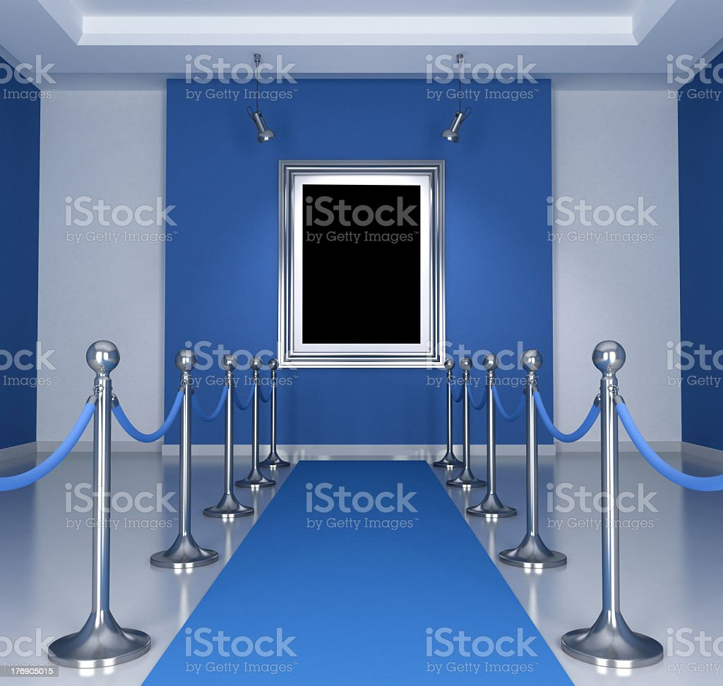 A blue segmented museum with white details royalty-free stock photo