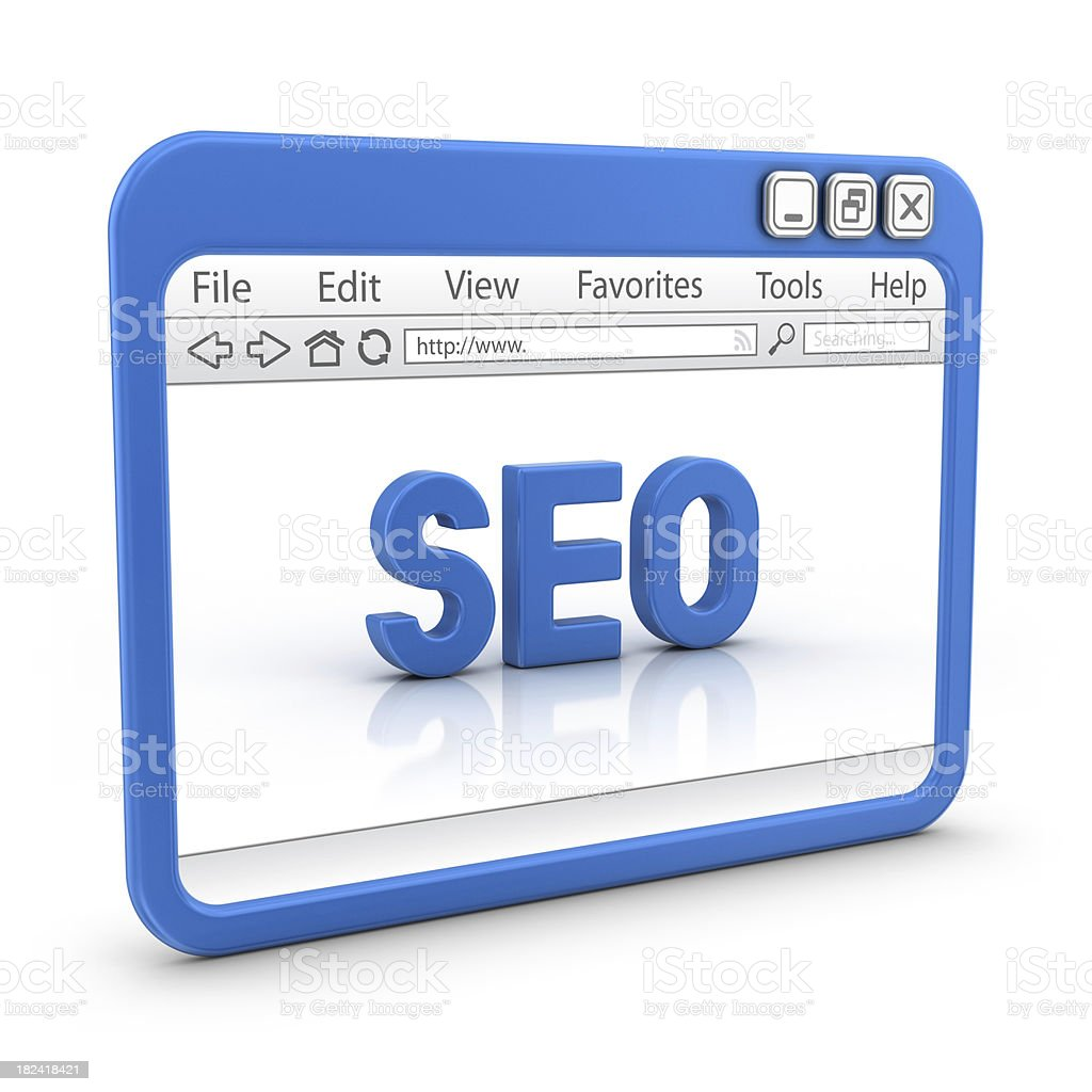blue seo in browser royalty-free stock photo