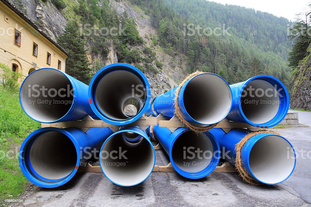 Blue sewer pipes or sewer pipes stock photo