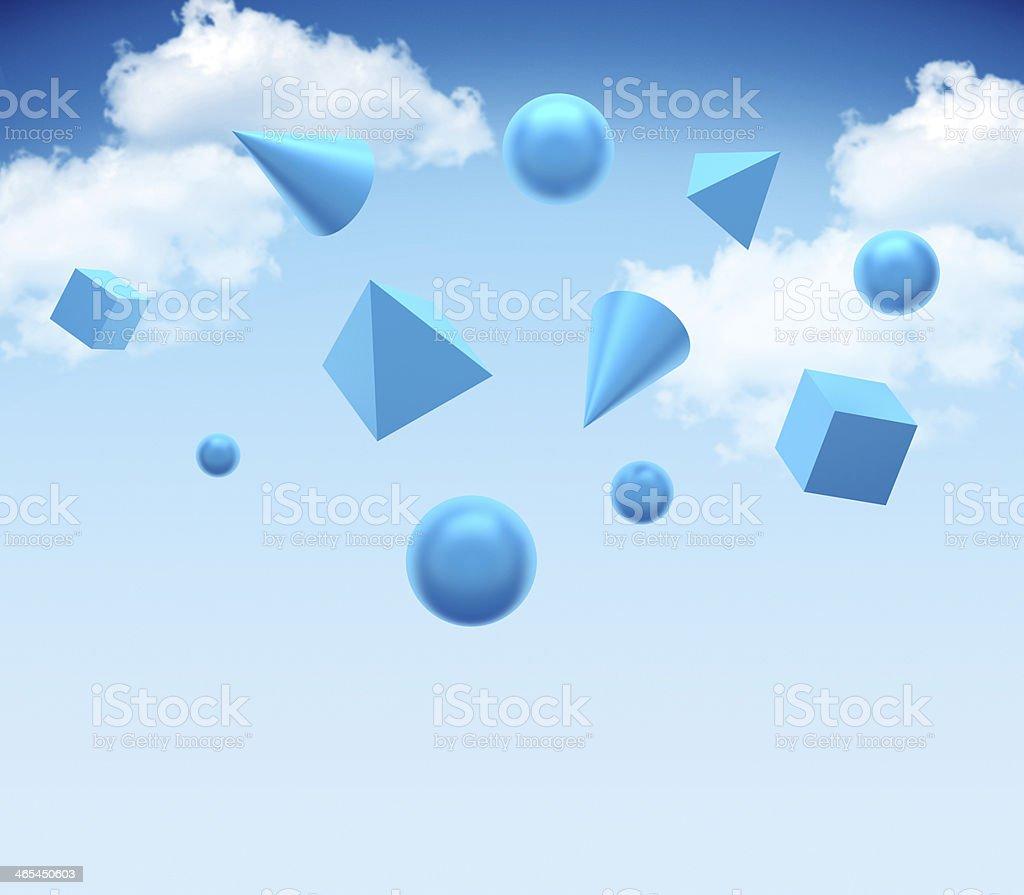 Blue shapes stock photo