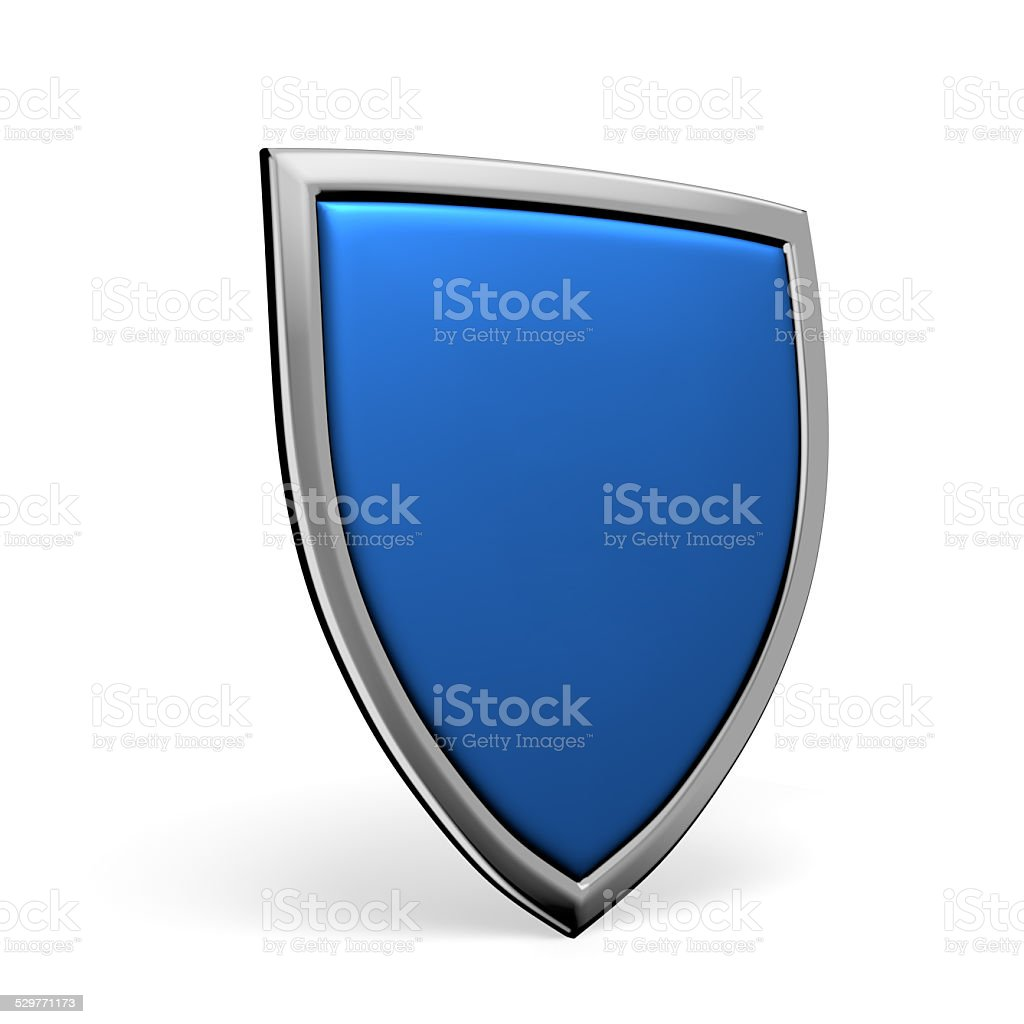 Blue shield on white stock photo