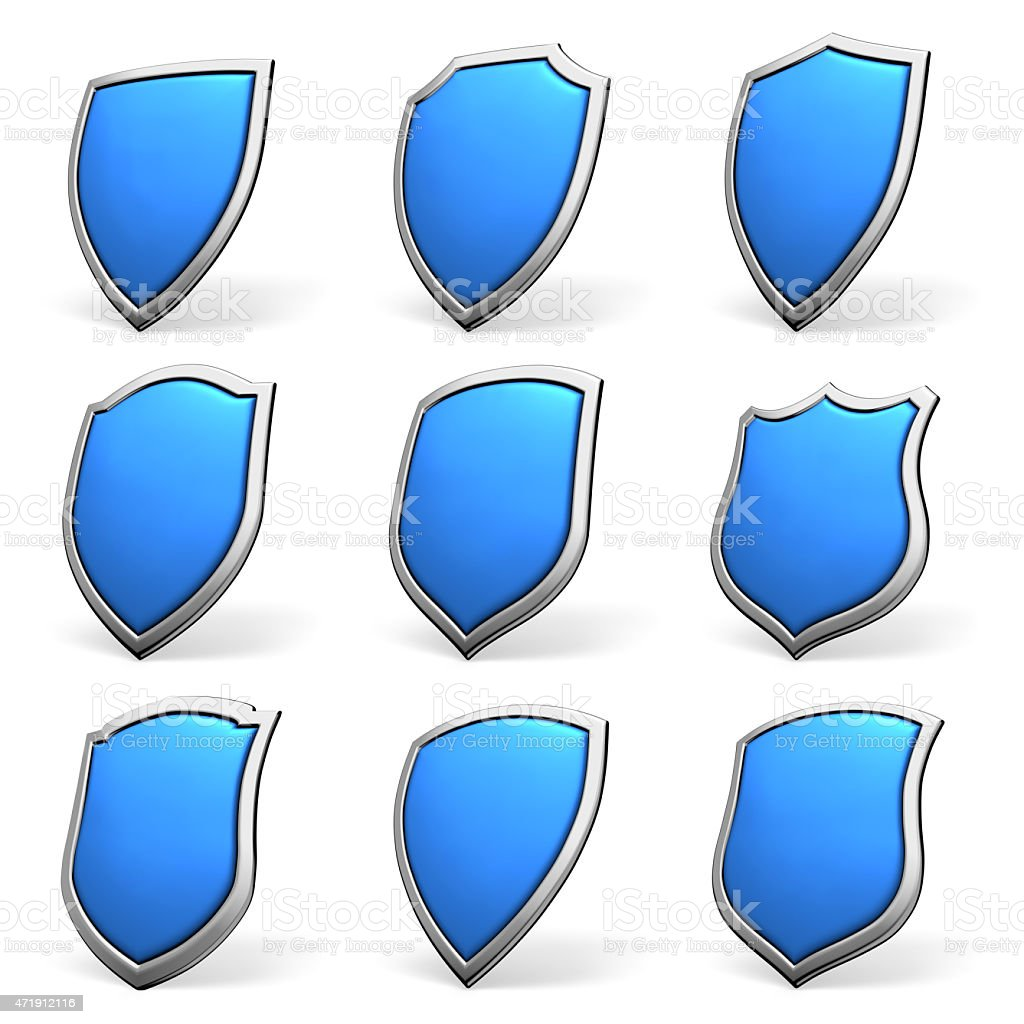 Blue shields on white set stock photo