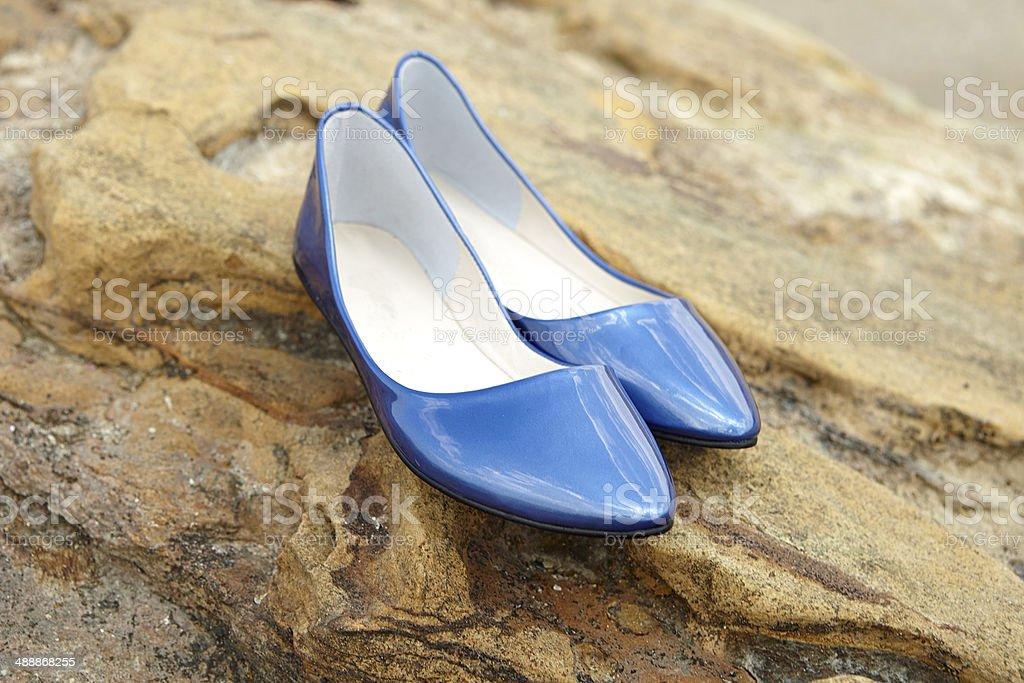 Blue Shine Women Shoe royalty-free stock photo
