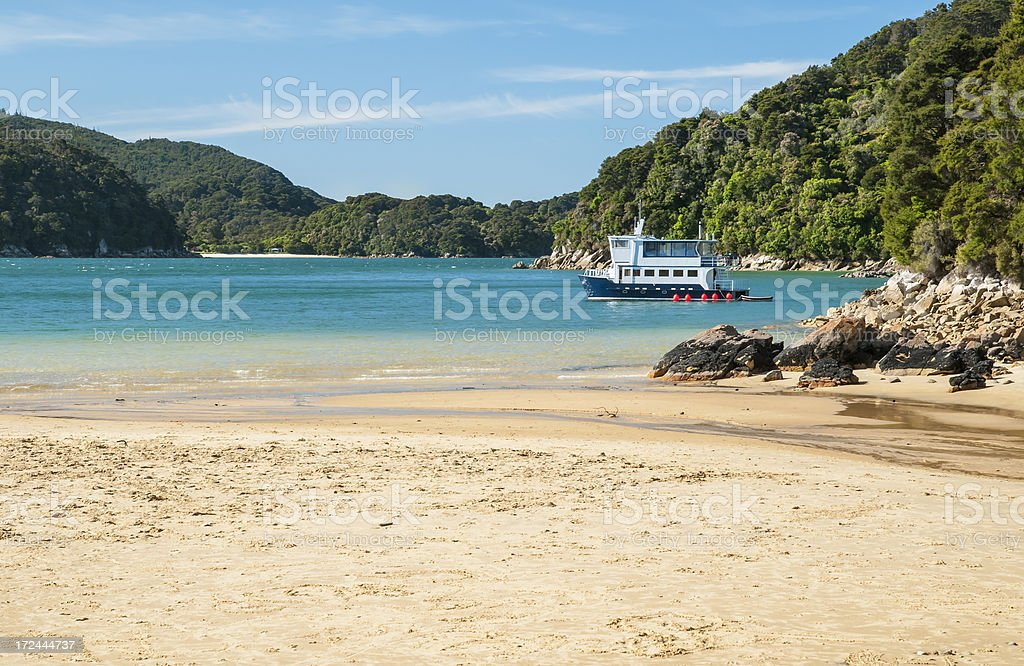 Blue ship in paradise royalty-free stock photo