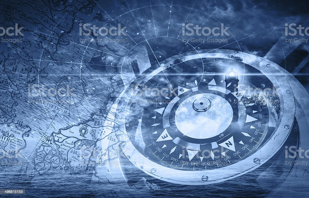 Blue ships navigation illustration with compass, lighthouse and stock photo