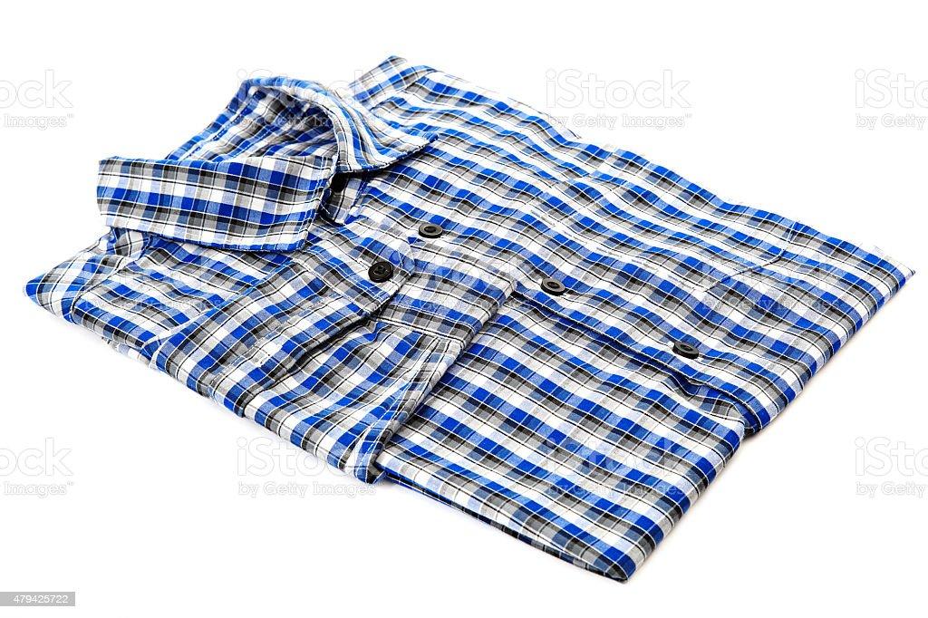 Blue shirt checkered isolated on white background. stock photo