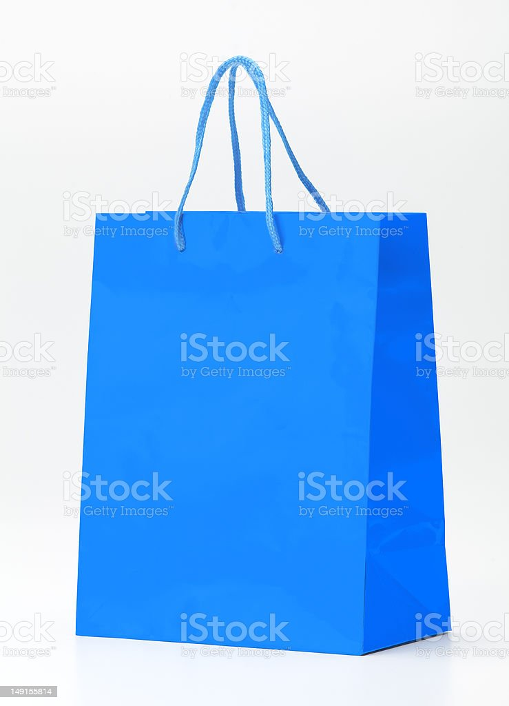 Blue shopping bag. stock photo