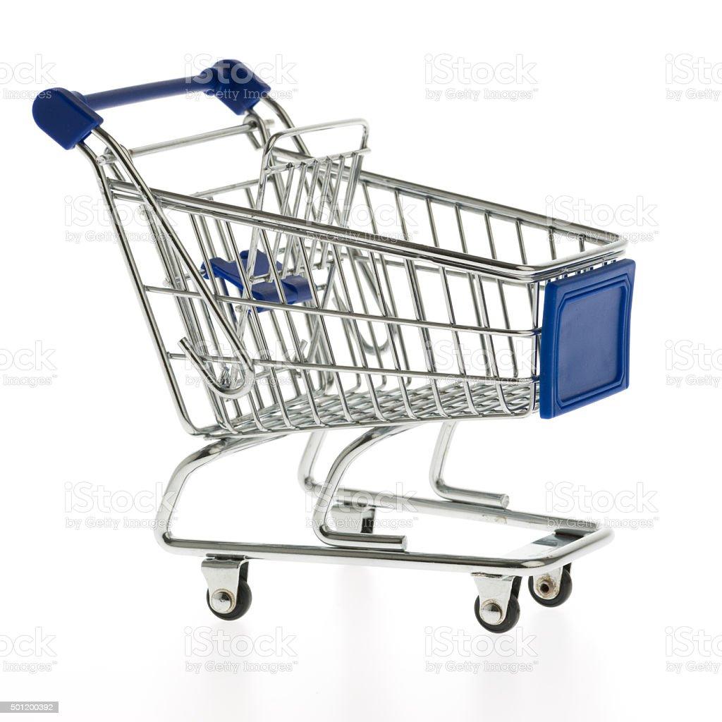 blue shopping cart stock photo