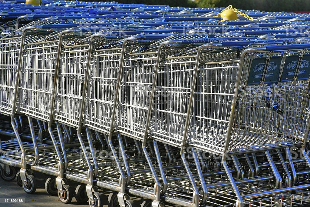 Blue Shopping Carts royalty-free stock photo
