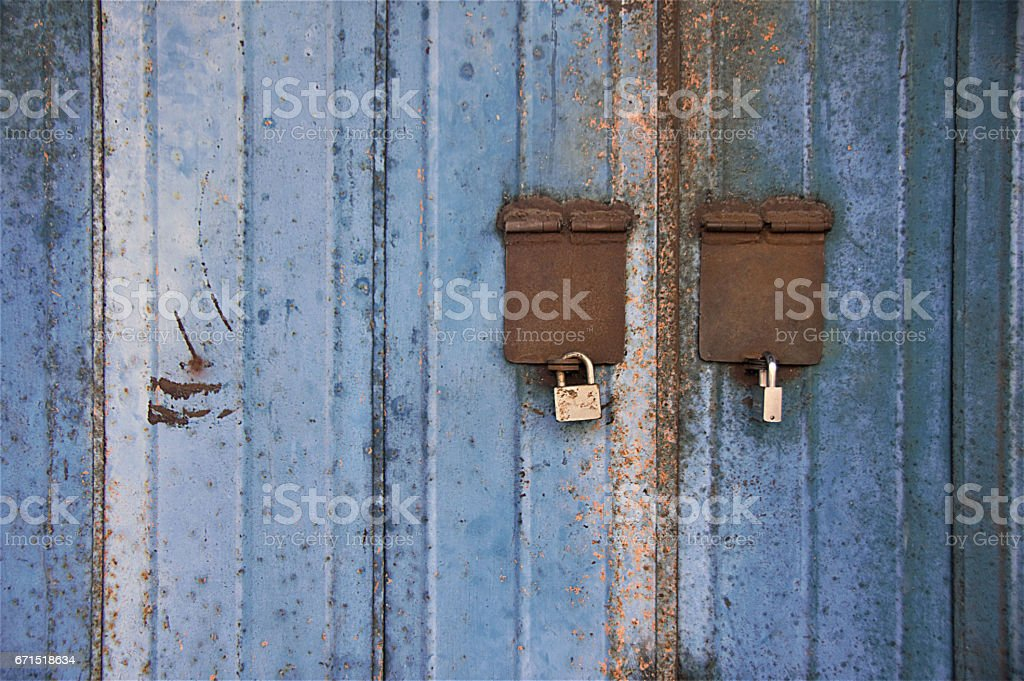 Blue shutter grungy background stock photo
