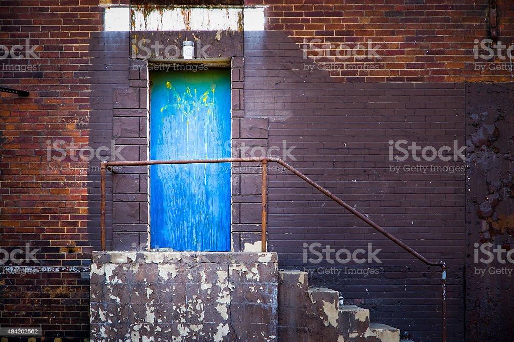 Blue Side Door stock photo