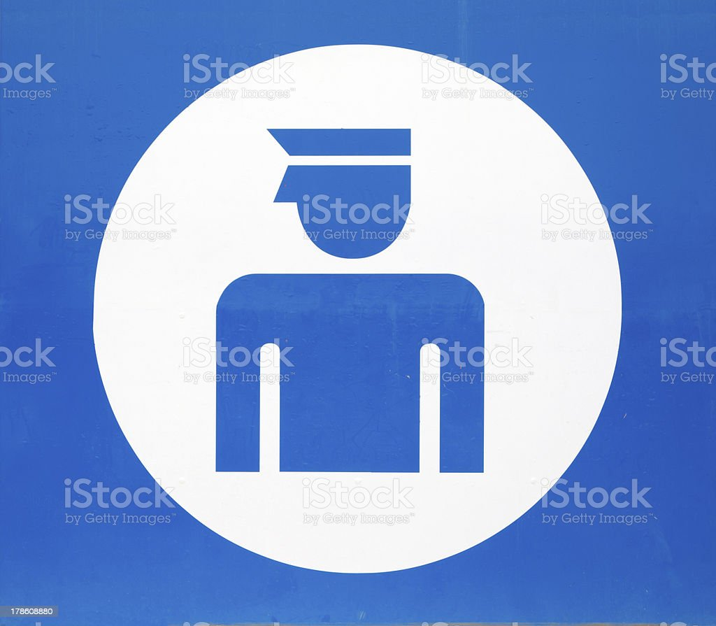 Blue sign indicating Police station royalty-free stock photo