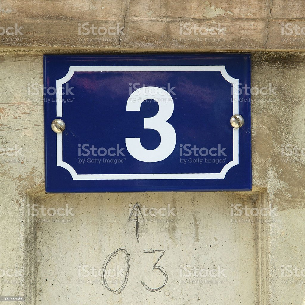 Blue Sign Number Three, Pencil Numeral 3 royalty-free stock photo