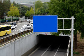 blue Signs above the road