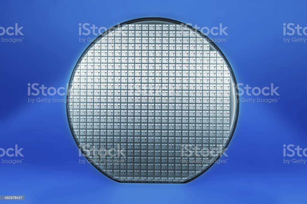 Blue silicon wafer stock photo