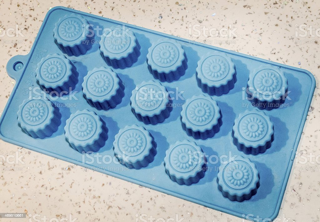 Blue silikon mold for cookies. stock photo