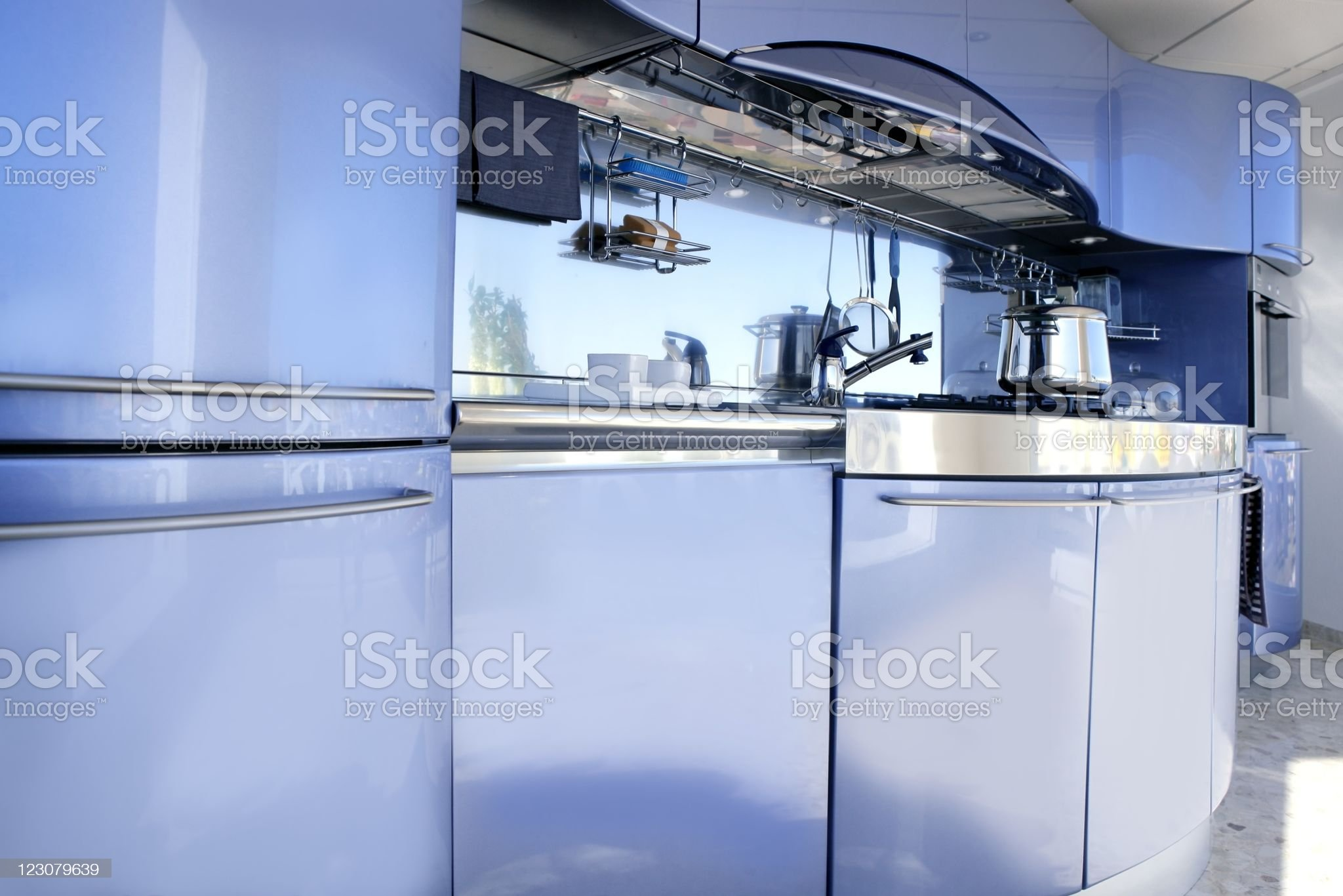 Blue silver kitchen modern architecture decoration royalty-free stock photo