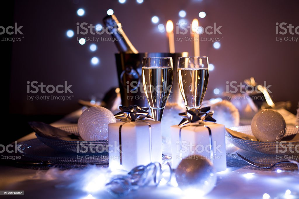 blue silver romantic new year eve luxury restaurant christmas table stock photo
