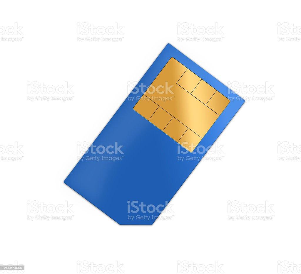 blue sim card stock photo