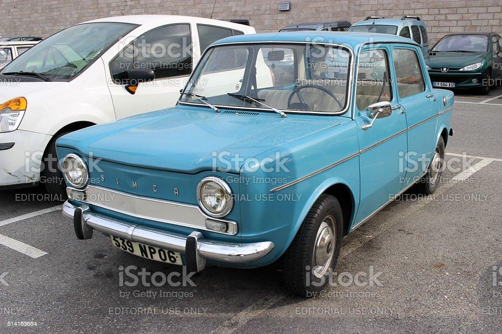 Blue Simca 1000 stock photo