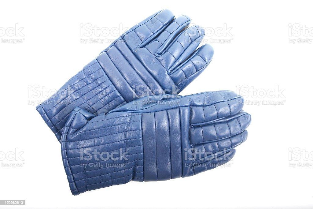 Blue Ski Gloves on White stock photo