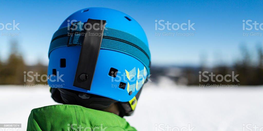 Blue ski helmet stock photo