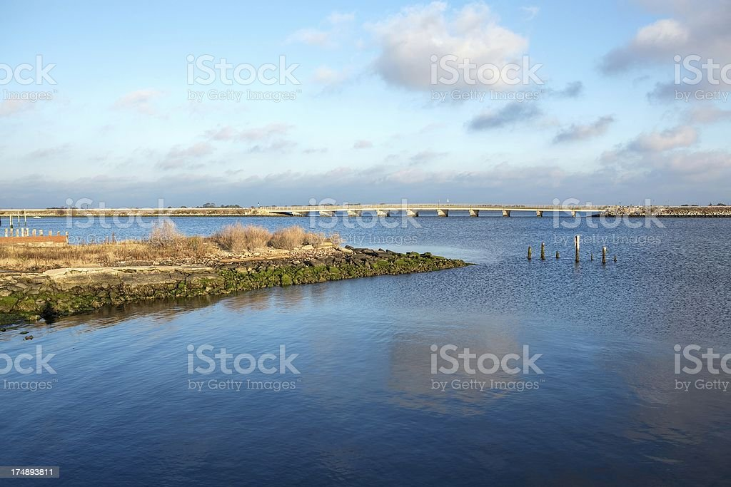 Blue Skies and clouds on the Chesapeake Bay stock photo