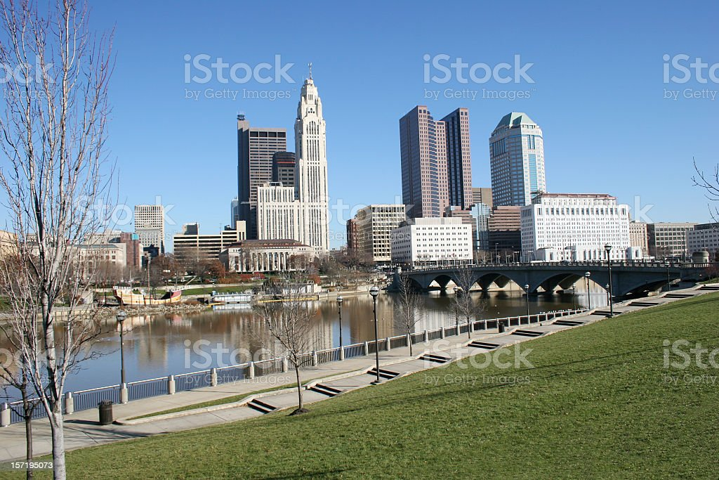 Blue skies and tall buildings Columbus, Ohio stock photo