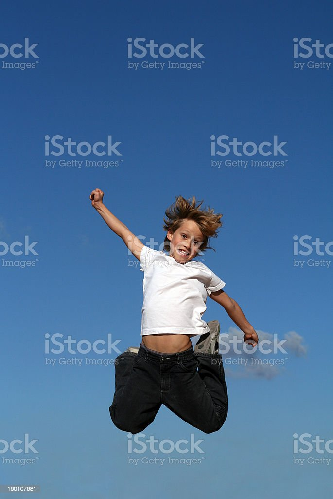 blue skies leap(Scroll down page for similar images) royalty-free stock photo