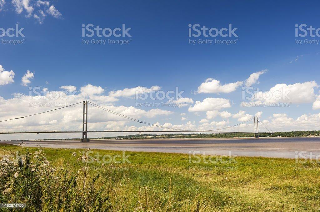 Blue skies over Humber Bridge stock photo