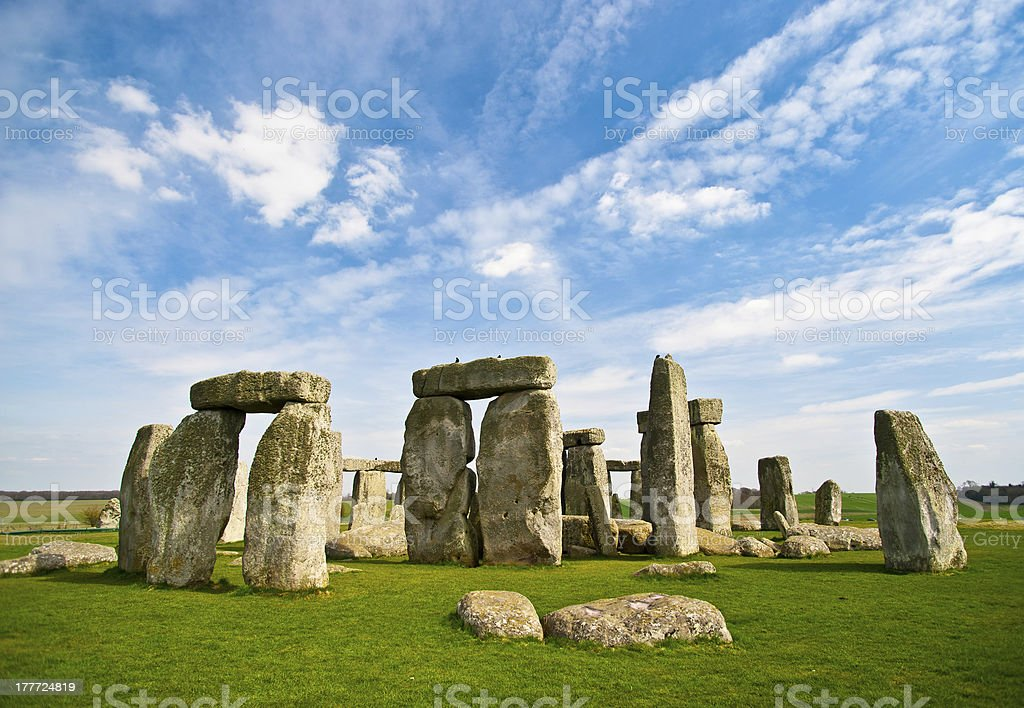 Blue skies over Stonehenge historic site stock photo