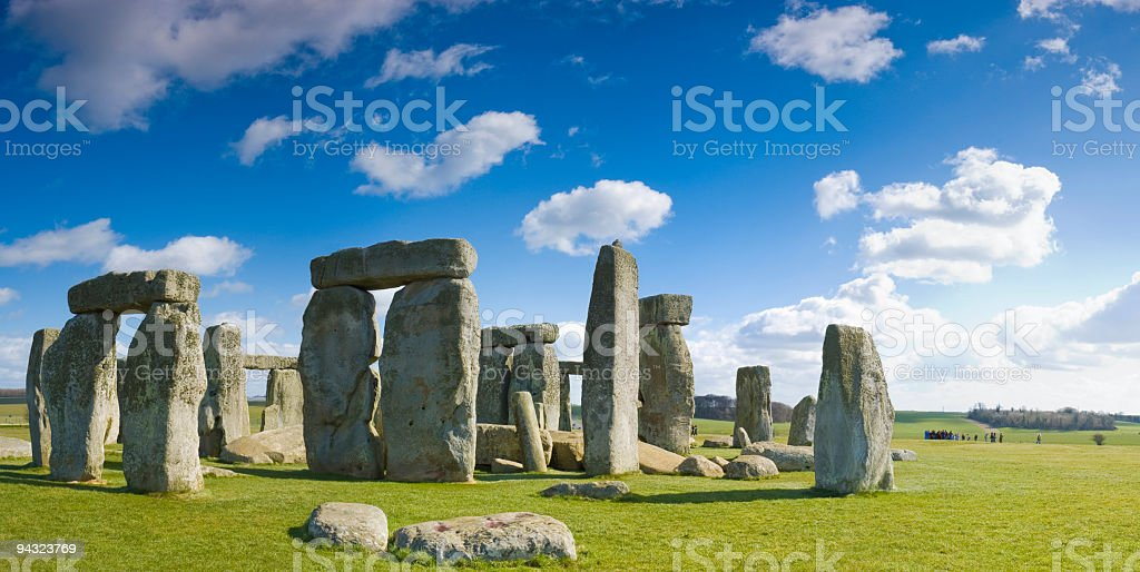Blue skies over Stonehenge stock photo