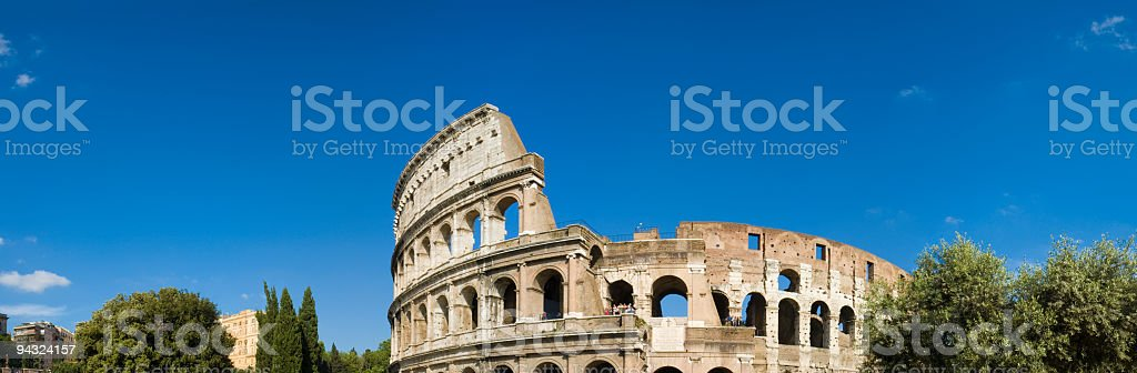 Blue skies over the Colosseum, Rome stock photo
