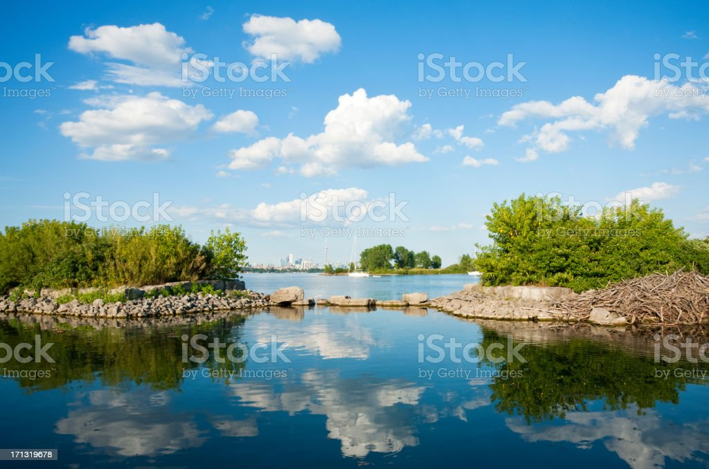 Blue Skies White Clouds stock photo