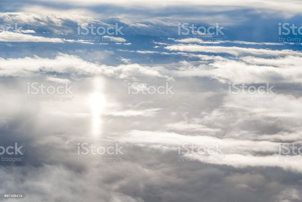 Blue sky above the clouds stock photo